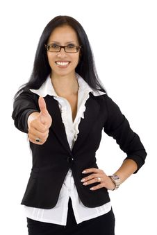 Attractive Business Woman Making Her Ok Sign Royalty Free Stock Image