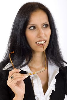 Attractive Businesswoman Holding Her Glasses Royalty Free Stock Photos