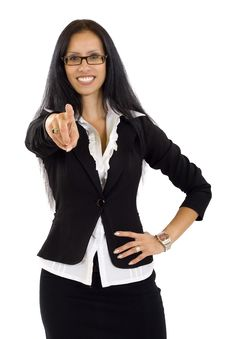 Business Woman Pointing To You With Both Hands Stock Image