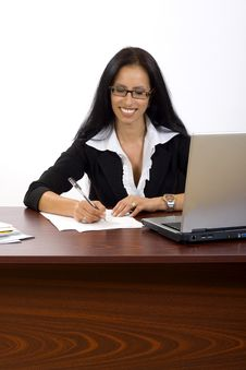 Free Attractive Businesswoman At Her Desk Stock Photo - 10267940