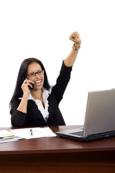 Free Attractive Businesswoman On The Phone Winning Royalty Free Stock Image - 10267956