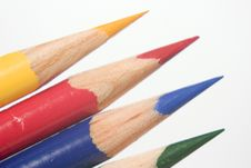 Blue Yellow Red Green Colored Pencils Stock Photo