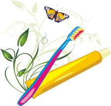 Free Sprig With Butterfly, Tooth Brush And Paste Royalty Free Stock Images - 10269729