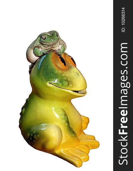 Real frog on ceramic frog