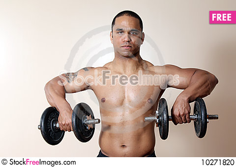 Muscular Male Body Lifting Dumbbells Free Stock Images Photos