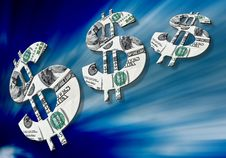 American Dollar Symbols On Blue Background Royalty Free Stock Images
