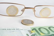 Glasses Coins And Banknote Look Like Smile Stock Photography