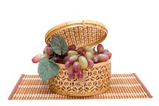 Free Bast Basket With A Grapes Stock Photography - 10270572