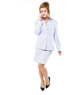 Business Woman  Speaking On Her Cell Phone Royalty Free Stock Photo