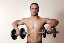 Free Muscular Male Body, Lifting Dumbbells Stock Photo - 10271820