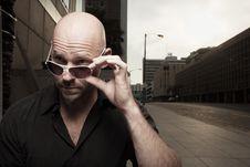 Free Bald Man Removing His Shades Royalty Free Stock Photo - 10273815
