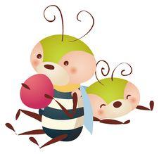 Free Bee Eating  Fruit Royalty Free Stock Image - 10274776