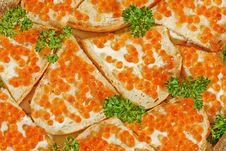Sandwiches With Butter And Red Caviar