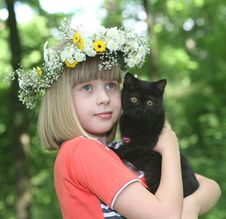 Free The Girl With A Black Kitten. Royalty Free Stock Photo - 10276645