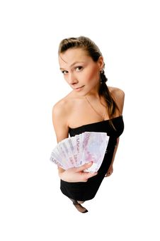 Free Beautiful Woman With Money Isolated On White Stock Photography - 10278452
