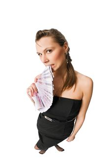 Free Beautiful Woman With Money Royalty Free Stock Images - 10278469