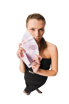 Free Beautiful Woman With Money Royalty Free Stock Photos - 10278478