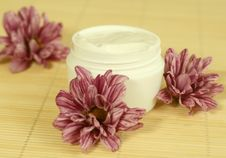 Free Spa Essentials. Cream And Flowers. Stock Photography - 10278952