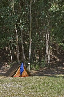 A Small Tent In A Campsite Stock Image