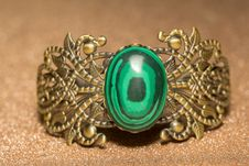 Bronze Bracelet With Malachite Stock Image