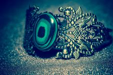 Bronze Bracelet With Malachite Stock Images