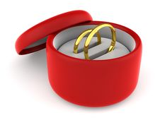 Free Wedding Rings In Red Round Gift Box Royalty Free Stock Images - 10280329