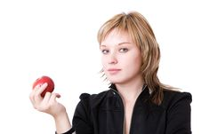Free Girl With Red Apple Royalty Free Stock Photos - 10280528