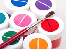 Group Of Colorful Paint Cans With Brush Royalty Free Stock Photos