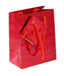 Free Red Paper Shopping Bag Isolated On White Stock Photos - 10280693
