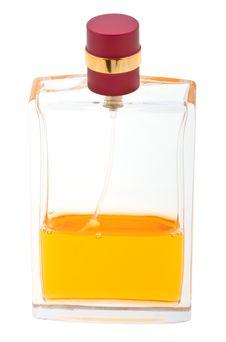 Free Yellow Perfume Bottle Isolated On White Stock Image - 10280711