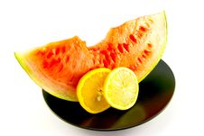 Watermelon With Slice Of Lemon And Orange Royalty Free Stock Photo
