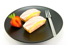 Strawberry Slices And Fork Royalty Free Stock Image