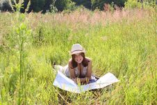 Free The Girl On Summer Meadow With Topographic Map Royalty Free Stock Image - 10283446