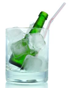 Free Cocktail:  Ice And Green Bottle Stock Photo - 10283460