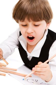 Adorable Little Boy With Pencil Royalty Free Stock Images