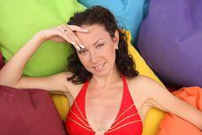 Woman On Pillows Royalty Free Stock Photo