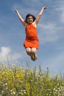 Free Jumping Girl Royalty Free Stock Photos - 10287368