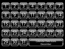 Free Calendar Icon Set - December Royalty Free Stock Photo - 10287405
