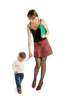 Young Woman Holding The Hand Of Child Stock Image