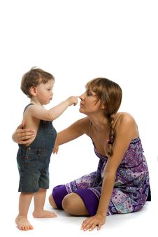 Free Young Mother Playing With Baby Boy Royalty Free Stock Photo - 10287625