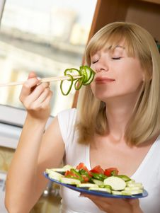 Free The Girl With Salad Stock Photos - 10289203