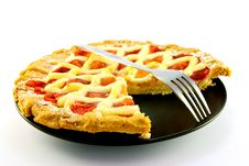Free Apple And Strawberry Pie With A Slice Missing Stock Image - 10289681