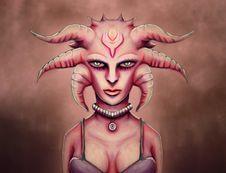 Sexy Grunge Alien Medusa Girl Stock Image