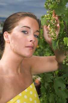 Free Young Attractive Woman With Grapes Royalty Free Stock Photo - 10291225