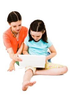 Free Girls Using A Laptop Royalty Free Stock Images - 10294009