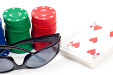 A Deck Of Cards And Casino Chips Stock Photography
