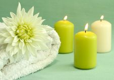 Free Towel, Candles And Flower. Stock Photos - 10295183