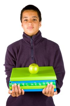 Pakistan Schoolboy With Schoolbooks And An Apple Stock Photos