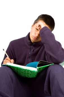 Pakistan Schoolboy Is Tired Making Homework Royalty Free Stock Images
