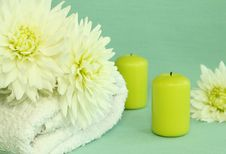 Free Towel, Candles And Flowers. Stock Photos - 10295863